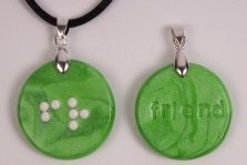 picture of Braille Clay Charm Necklace: Friend