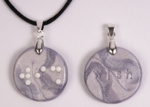 picture of Braille Clay Charm Necklace: Wish
