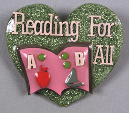 "Photo of ""Reading For All"" braille pin"