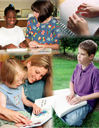 Photo collage of children reading braille books